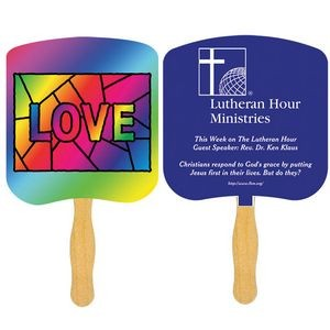 Religious Hand Fan/ Love Stained Glass