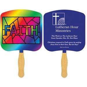 Religious Hand Fan/ Faith Stained Glass